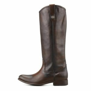 Frye Melissa Button Pull Boot Dark Brown Leather 6